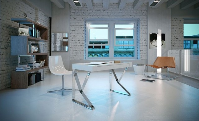 Modloft Houston Desk In White Lacquer Modern Desks And Hutches Vancouver By Cymax