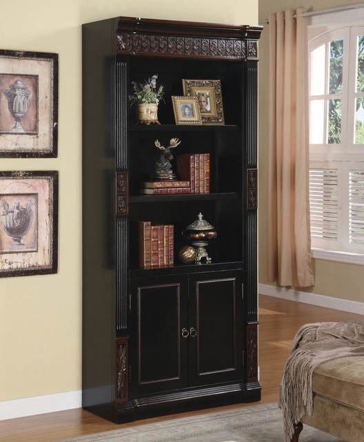 Black / Cherry Traditional Bookcase modern-bookcases