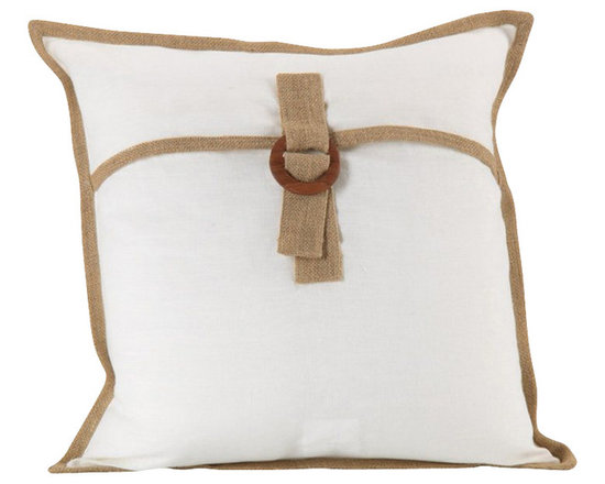 Zodax - Zodax Mauritius Linen and Jute Throw Pillow in Off White (Set of 2) - Zodax - Throw Pillows - IN5207S - Mauritius Linen and Jute Throw Pillow