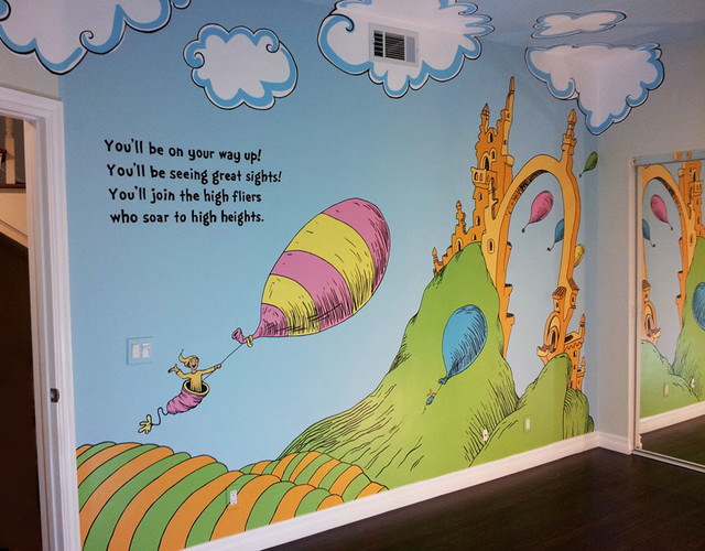 Whimsical dr seuss inspired nursery mural for Dr seuss wall mural