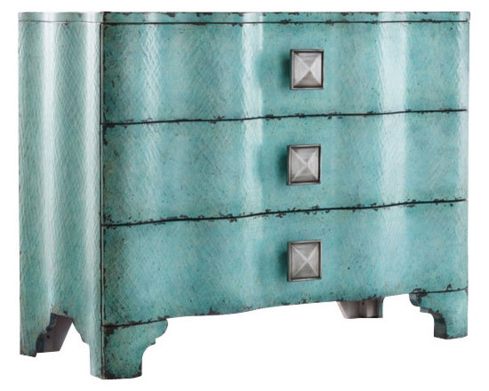 Hooker Furniture - Turquoise Crackle Chest - This is a dresser. But who says you have to use it as one? In your dining room the startling turquoise crackling could shake things up. In your entryway, its bright color will enliven even the darkest area. Live a little!