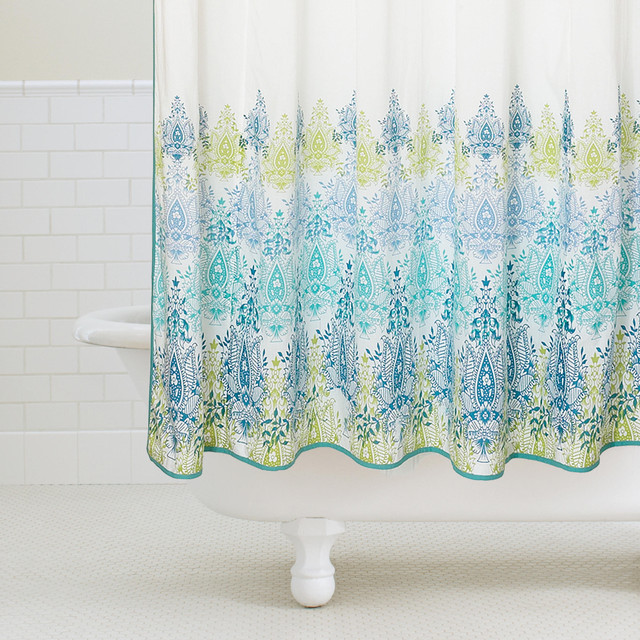Blue Green Print Shower Curtain Contemporary Shower Curtains By Cost Plus World Market