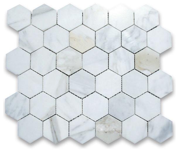 Calacatta gold 2 inch hexagon mosaic tile polished for 1 inch hexagon floor tiles