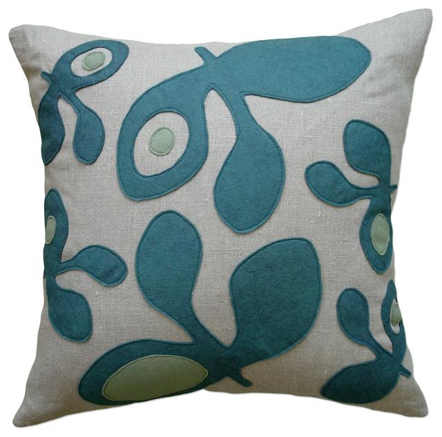 Felt Appliqué Linen Pillow - Pod, Brook/Loden, 22x22 contemporary-decorative-pillows