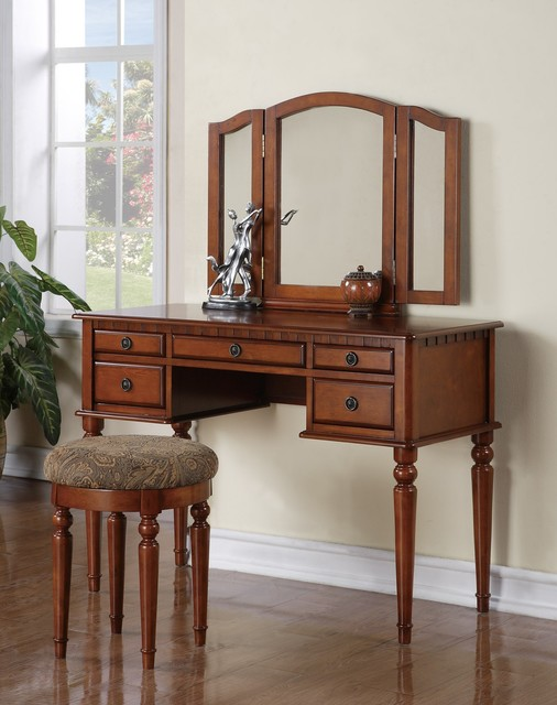 poundex f4074 white 5 drawer vanity set with mirror and