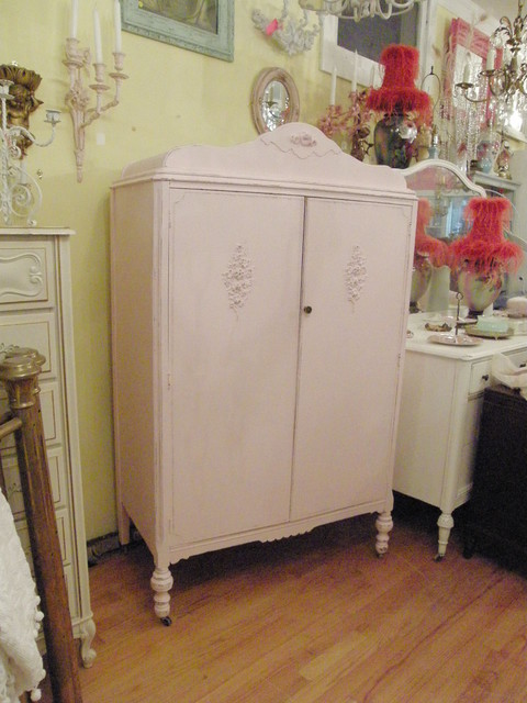 Pink Antique Armoire Shabby Chic Distressed Eclectic