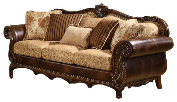Acme Remington Bonded Leather and Fabric Traditional Sofa traditional ...