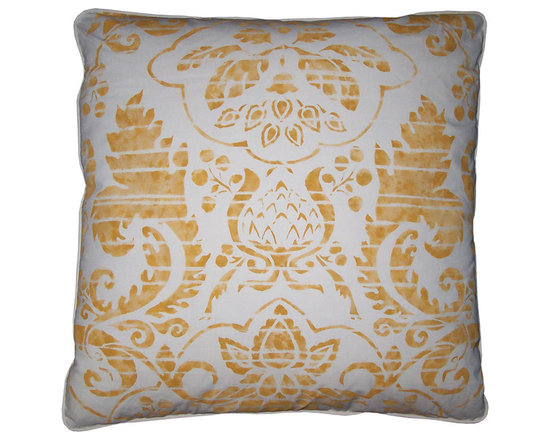 Pair of Pillows in Yellow and White ~ by Carol Tate - High-end Custom and Ready made pillows available on-line. A One-of-a-Kind Pair of Pillows  Designed, Hand Printed, and Fabricated in the Artisanaworks Workroom Studio.  Down and Feather Inserts Included.  Couture Custom Workroom Services Available. Artisanaworks