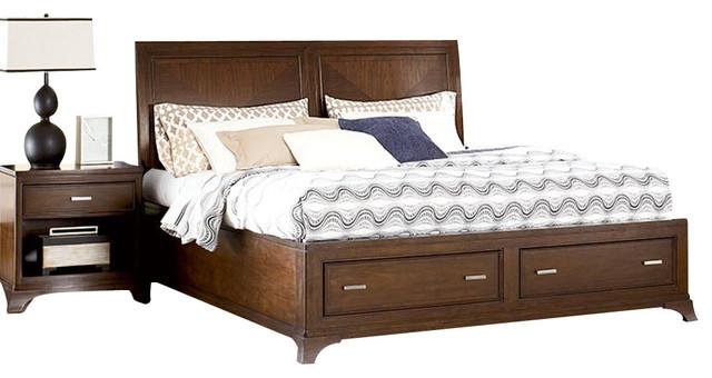 American drew essex 2 piece sleigh storage bedroom set in for Bedroom furniture essex
