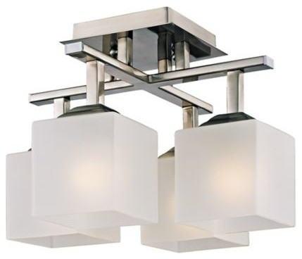 Conde Square Brushed Steel Modern 11-Inch-H Ceiling Light contemporary-flush-mount-ceiling-lighting