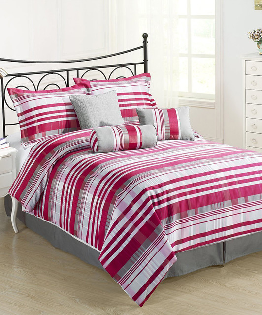 Pink Amp Gray Retro Striped Comforter Set Modern Comforters