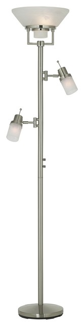 Contemporary Brushed Nickel Two Swing Arm Torchiere Floor Lamp contemporary-floor-lamps