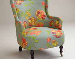 Gray Vintage Floral Reading Chair traditional-armchairs