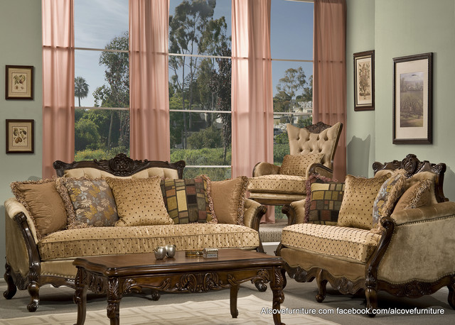 Traditional sofa sets living room sets for Living room decor sets