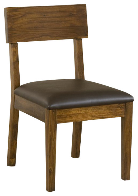 Modus furniture alba solid wood dining chair with recycled for Wood dining chairs with leather seats