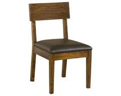 Modus Furniture Alba Solid Wood Dining Chair with Recycled Leather Seat transitional-dining-chairs