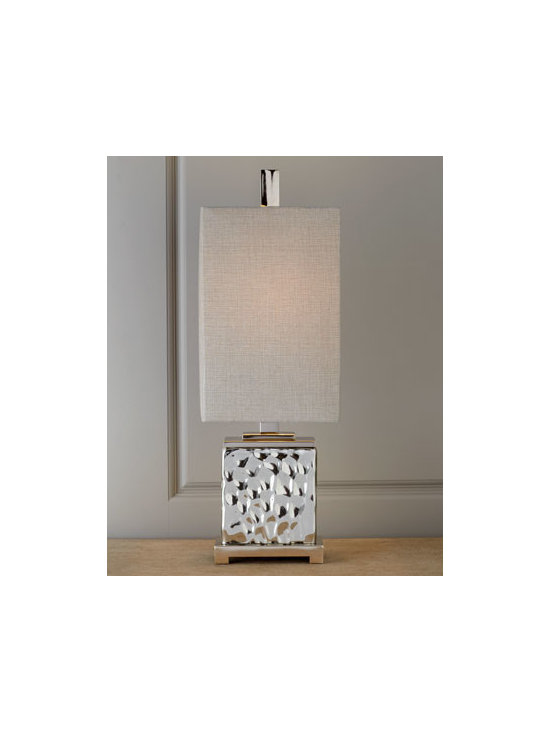 "Horchow - Bashan Table Lamp - A cube of rippling water glass is nickel plated for beautiful shine on a reverse-proportioned table lamp. Handcrafted of glass and polished nickel-plated metal. Linen shade. Uses one 100-watt bulb. 10""Sq. x 32""T. Imported."