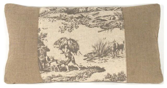 French Country Burlap Gray Toile Lumbar Toss Pillow transitional-decorative-pillows