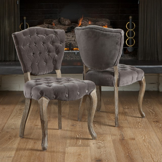 Dining Chair Set 2 Pair Accent Tufted Kitchen Modern Side: Christopher Knight Home Bates Tufted Grey Fabric Dining