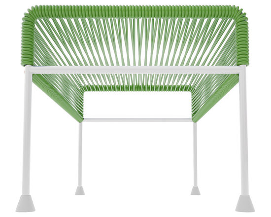 Adam Ottoman, White Frame With Cactus Weave - Sleek woven vinyl makes this coffee table stand really pop. It's a great option for indoor and outdoor use since the vinyl is UV protected and the metal base is galvanized. The only challenge would be deciding on your favorite color top to pair with the crisp white base.
