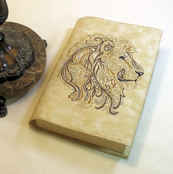Large Cloth Book Covers : Custom lion large paperback book cover on cotton fabric