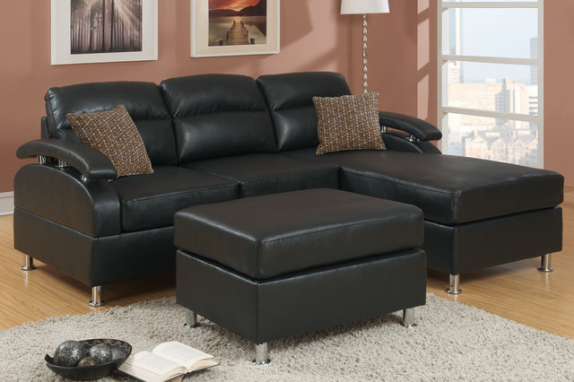 Modern Small Ebony Leather Sectional Sofa Reversible