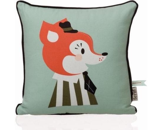 """Ferm Living Organic Mr. Frank Fox Pillow - Ferm Living has created an adorable collection of pillows called """"The Marionette Collection"""" made from 100% Organic cotton with soft and cozy down filling."""