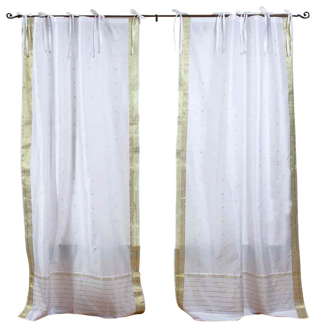 Pair of White with Gold Tie Top Sheer Sari Curtains, 43 X 108 In. eclectic-curtains