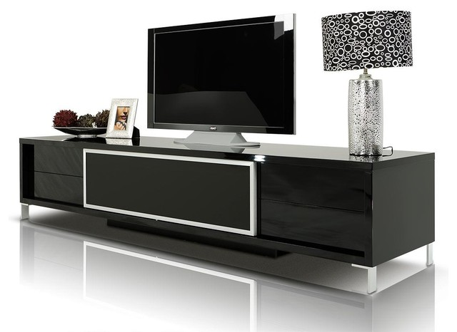 Brighton Black Lacquer Entertainment Center - Modern - Media Storage - by New York Furniture ...