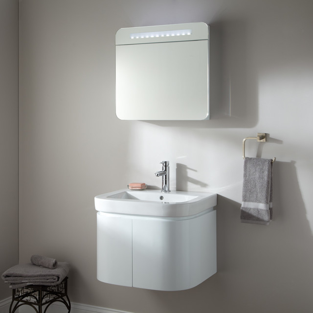 "24"" Cyrus Wall-Mount Vanity with Lighted Medicine Cabinet - Contemporary - Bathroom Vanities And ..."