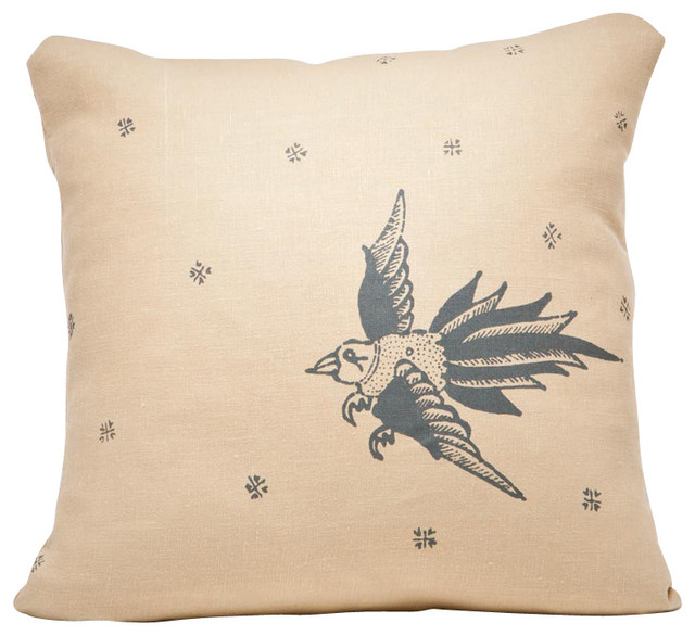 Indochine Friendship Bird Pillow, Wheat/Charcoal contemporary-decorative-pillows