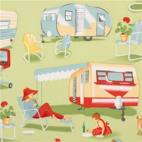 Light Green Retro Fabric Camping Trailer Michael Miller