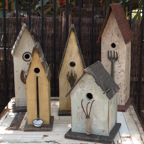 Folk art bird house eclectic birdhouses by potted - Scrap wood decorated house ...