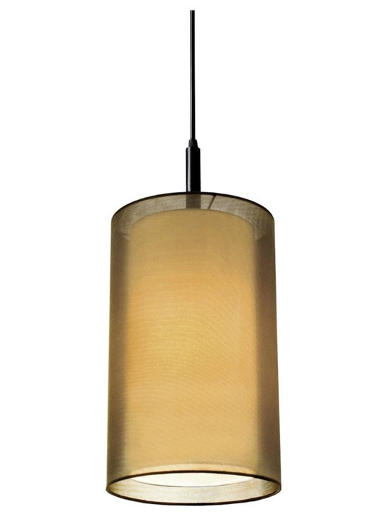 "Sonneman - Sonnemann Puri 9"" Wide Brass Organza Mini Pendant Light - Contemporary style has never looked more magnificent than in this stylish pendant chandelier from Sonnemann. A translucent off-white cylindrical inner shade and bottom diffuser are surrounded by a transparent shade of bronze organza fabric. Beautiful black brass finish graces the housing and trims this elegant ceiling light. Black brass finish. Off-white inner shade. Bronze organza outer shade. Takes one 18 watt GU24 CFL bulb (not included). 17"" high. 9"" wide. Inner shade is 13"" high and 8"" wide. Canopy is 5"" wide. Includes 10' of cord.  Black brass finish.   Off-white inner shade.   Bronze organza outer shade.   Takes one 18 watt GU24 CFL bulb (not included).   17"" high.   9"" wide.   Inner shade is 13"" high and 8"" wide.   Canopy is 5"" wide.  Includes 10' of cord."