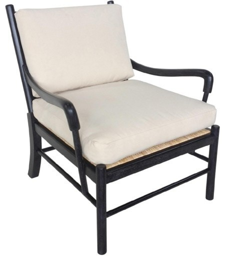 Noir Furniture Kevin Chair With Rattan In Hand Rubbed Black Sof204hb Transitional