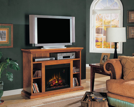Electric Fireplace TV Stand in Premium Oak offers a great media