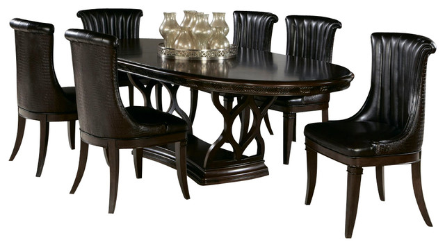 American Drew Bob Mackie 8 Piece Oval Dining Room Set in
