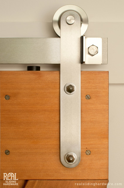 Stainless Prop style Barn Door Hardware - Contemporary - other metro - by Real Sliding Hardware