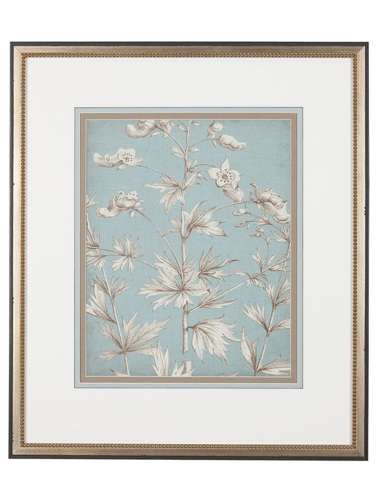 Ethan Allen - Pastel Chintz l - A gicl?e of a botanical chintz pattern is printed on paper in a muted color palette, consisting of ivory, soft taupe, and mineral blue. These tones are echoed in the image's triple matting. A wood frame with a delicate beaded edge has a dual finish of worn black and silver leaf patina.