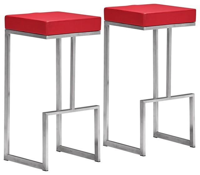 Set Of 2 Zuo Modern Darwen 30 Quot High Red Bar Stools
