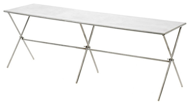 Linguistic Designs Brushed Metal Bench contemporary-indoor-benches