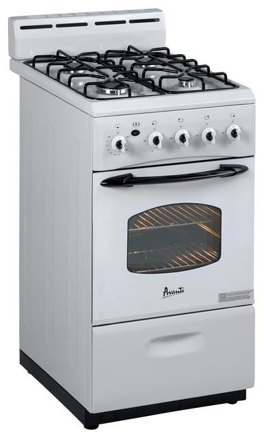 "Avanti 24"" Gas Range Sealed Burners White modern-gas-ranges-and-electric-ranges"