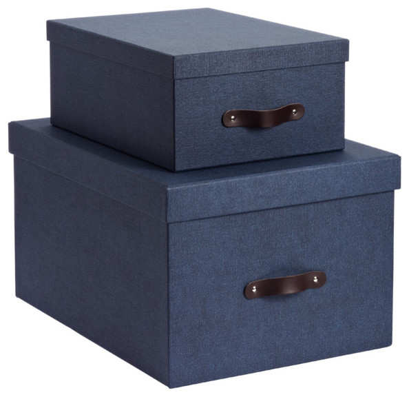 Navy Marten Closet Boxes - Contemporary - Storage Bins And Boxes - by The Container Store