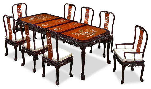 96in Rosewood Queen Ann Grape Motif Dining Table with 8  : asian dining sets from www.houzz.com size 640 x 378 jpeg 80kB