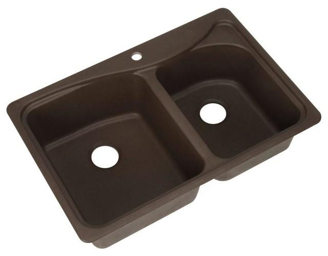 ... 33x22x9.5 1-Hole Double Bowl Kitchen Sink contemporary-kitchen-sinks