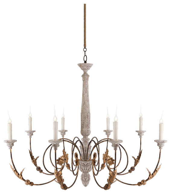 Pauline Large French Country 8 Light Curled Iron Arm