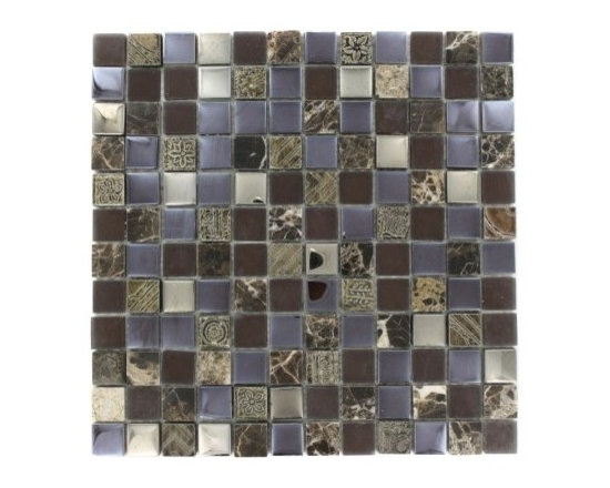Fusion Glass and Stone Mosaic Tile - This stunning combination of the chocolate and cream marble with the frosted glass and metallic etched decos gives any room a modern and contemporary ambiance. Add a pop to any room with these beautiful tiles that are versatile; great to use for a back splash for a kitchen or a fireplace.