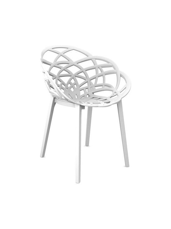 Papatya - Papatya | Flora Chair, Set of 4 - Flora's fun design offers the perfect seating package of functional and fashionable features. Flora's durable plastic material is sturdy and anti UV stabilized, making her at home both indoors and outdoors. While the shell shaped seat provides exceptional comfort and aesthetic appeal, her unique design also allows Flora to be readily stacked and stored. Available in sets of 4.  Select from 3 unique color combinations. Flora is also available with chrome base.
