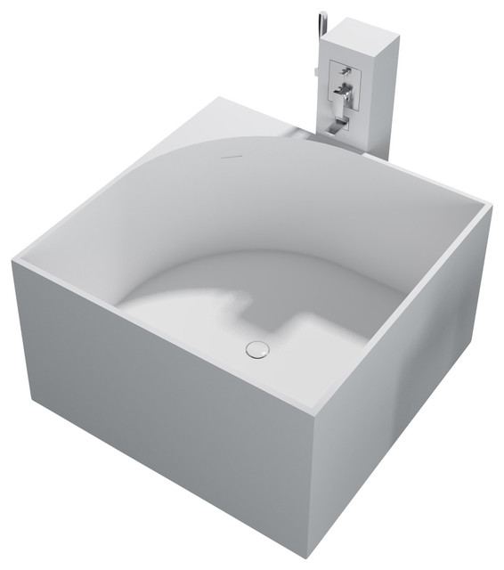 Stand Alone Bathtubs : ADM Matte White Stand Alone Resin Bathtub - Contemporary - Bathtubs ...