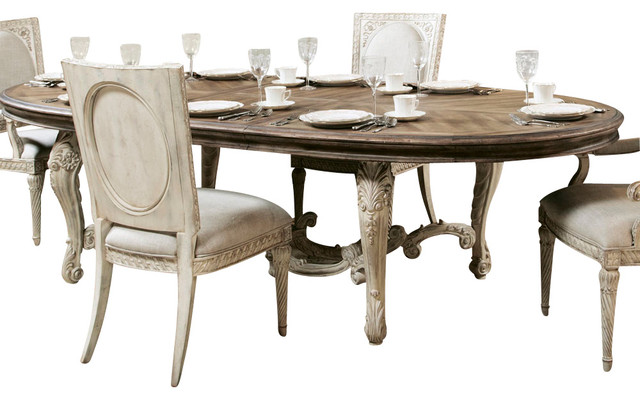 American drew jessica mcclintock boutique oval dining for Traditional dining table bases
